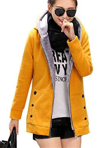 YPtong Donna Lungo Felpa con Cappuccio Taglie Forti Eleganti Felpe Donna Invernali Ragazza Sweatshirt Zip Maniche Lunghe Casual Felpe Femminili Tinta Unita Blusa Tasca Giallo