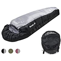 Andes Nevado 3 Season Mummy Sleeping Bag Warm 300GSM Filling - Compression Carry Bag Included - Ideal For Camping…