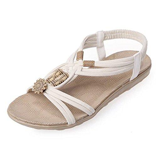 Vovotrade® Frauen Casual Peep-Toe Flache Schnalle Schuhe Römische Sommer Sandalen (Size:38, Beige1) (Sandalen Schwarz Römische)