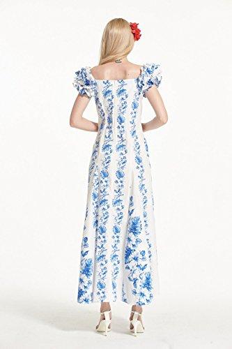 Made In Hawaii Abiti da donna Hawaiian Luau Tradizionale Mermaid Muumuu Maniche Fluffy in Bianco con Linea Floreale White with Line Floral