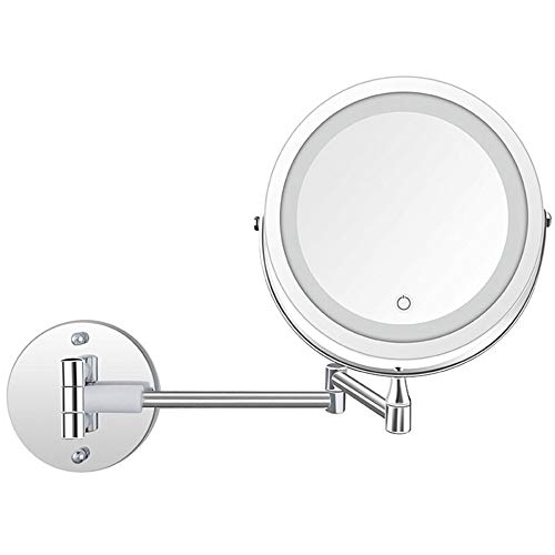 Badezimmerspiegel Make-up Kompakte Spiegel Folding LED Rotat Spiegel Teleskop Doppelseitige Vergrößerung Kosmetikspiegel Wandbehang,Silver-A-7inches -