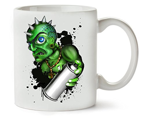 MugWorld Crazy Green Monster Wants to Draw Fraffiti Criminal Series Hand-Made Drawing Color Pencils Alien Klassische Teetasse Kaffeetasse (Alien Tattoo Cute)