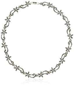Elements Sterling Silver Ladies' N864H Flower & Scroll Marcasite Necklace