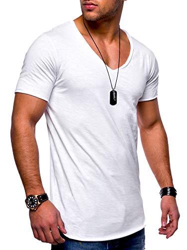 behype. Herren Kurzarm Basic T-Shirt V-Neck Ausschnitt Oversize-Look 20-0002 Weiß L