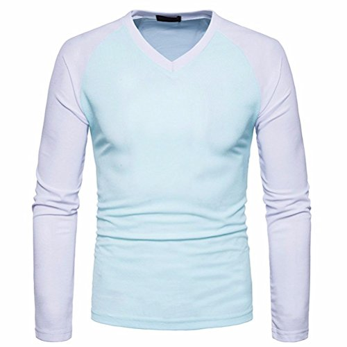 Herren Übergang Langarmshirts VENMO Herren Lässig Baumwollmischung Tops Langarm-Shirt Slim Fit V-Ausschnitt Patchwork Bluse Sweatshirt Langarmshirt Pullover Warm Langarmshirt Tee (XL, Light Blue) (Work Long Sleeve Baumwolle Shirt)