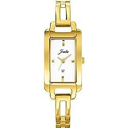Joalia 631858-Ladies Watch-Analogue Quartz-Silver Dial-Golden Metal Strap