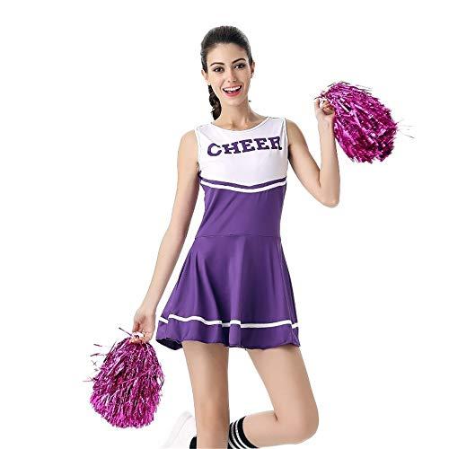 MCO%SISTSR Cheerleader-Kostüm,Mädchen Cheerleading Uniform Brief Druck Fußball-Basketball-Musik-Bekleidung Wettbewerb Tanz-Performance, Lila, Eine Größe (Cheerleading Uniformen Lila)