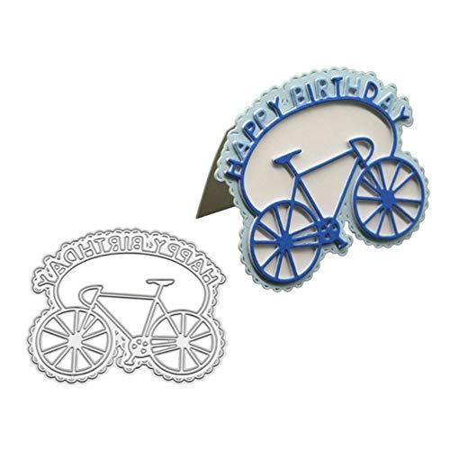AchidistviQ Alles Gute zum Geburtstag Fahrrad Metall Stanzformen DIY Scrapbook Papier Karten Schablone Happy Birthday Bike Silber (Birthday Happy Jumbo-karte)