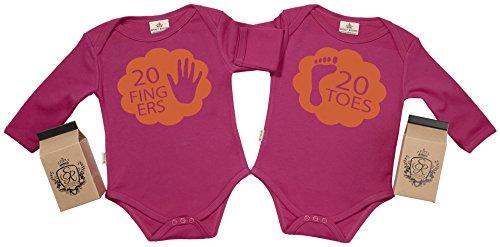SR - estuche de presentación - 20 Fingers & Toes body gemelos bebé - ropa para gemelos bebé - regalo para gemelos bebé, Rosa, 12-18 meses