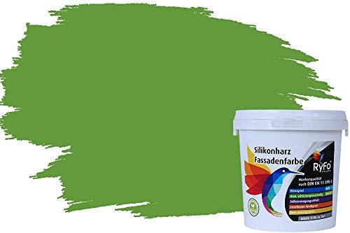 RyFo Colors Silikonharz Fassadenfarbe Lotuseffekt Trend Gelbgrün 1l - bunte Fassadenfarbe, weitere Grün Farbtöne und Größen erhältlich, Deckkraft Klasse 1