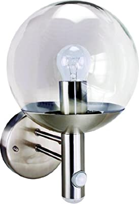 Byron Elro RVS46LA E27 Bulb Stainless Steel Wall Light with PIR Motion Detector and LED Twilight,25w - low-cost UK light shop.