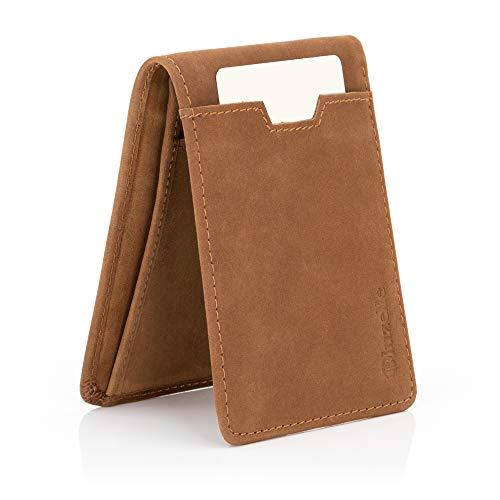 bluzelle Kartenetui Crazy Horse Leder - RFID Schutz, Brieftasche, Mini Organizer, Kartenhalter, Portemonnaie, Kreditkarten-Etui, Slim Wallet - Braun