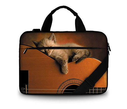 Luxburg® Design gepolsterte Business- / Laptoptasche Notebooktasche bis 15,6 Zoll mit Schultergurt, Mehrzwecktasche, Motiv: Katze auf Gitarre