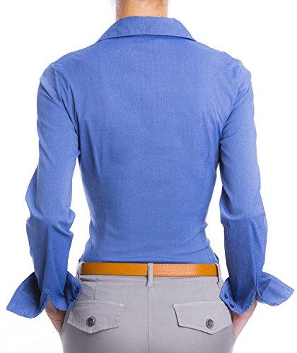 Danaest Damen Elegante Hemden Tailliert Blusen Business (620) Dunkelblau