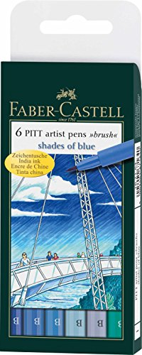 Faber-Castell Pitt Artists – Rotulador (tipo pincel, 6 unidades), color azul