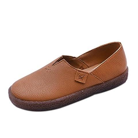 SOMESUN Loafers Slip Flats Fischer Schuhe Casual Spring Frauen Flache Schuhe (39 EU, Braun)