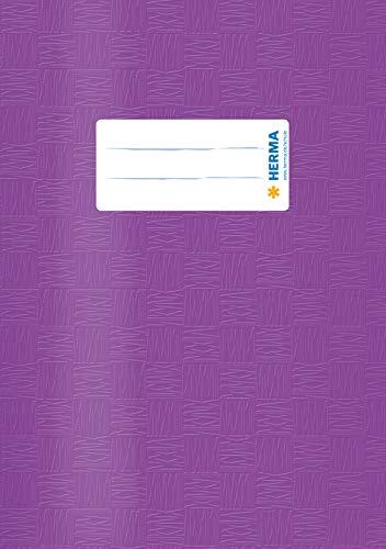 HERMA 7426 Heftumschlag DIN A5 gedeckt mit Baststruktur und Beschriftungsetikett, aus strapazierfähiger und abwischbarer Polypropylen-Folie, 1 Heftschoner für Schulhefte, lila -