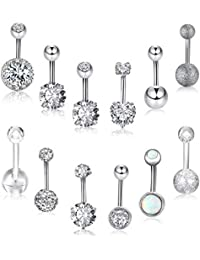 12 Pieces 14G Belly Button Rings Stainless Steel Navel Rings CZ Inlaid Body Piercing Barbell Jewelry, 12 Styles