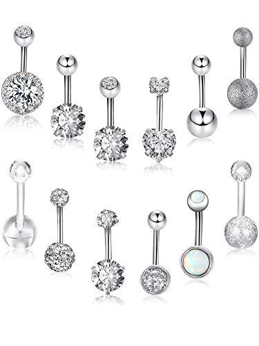 Blulu 12 pezzi 14g anelli con ombelico acciaio inossidabile anelli navel cz gioielli intarsiati per il piercing al bilanciere, 12 stili (colore set 1)