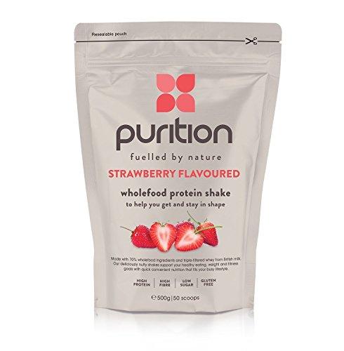 Milk-shake protéiné et diététique à la fraise (500 g) idéal pour la perte de poids et la récupération après l'effort - substitut de repas 100 % naturel - smoothie petit déjeuner
