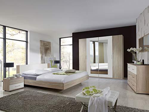 moebel-eins Flores I Komplett-Schlafzimmer, Material Dekorspanplatte, 180 x 200 cm, Eiche sägeraufarbig/Weiss