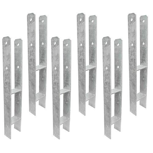 6 H-Pfostenträger - Gabelweite 101 mm für 100 mm Pfosten 600 mm Länge, 5mm - feuerverzinkt -