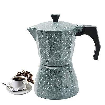 Vinekraft Espresso Maker Moka Pot Stove Top Coffee Pot 6 cups/300ml -Grey