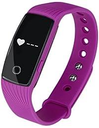 Fulltime (TM)–Smartwatch, Fulltime (TM) Bluetooth 4.0multilingüe Bluetooth Smart reloj Podómetro sano Monitor de frecuencia cardiaca, hombre mujer Infantil, morado, Dimension:40.9*20.0*12.5mm