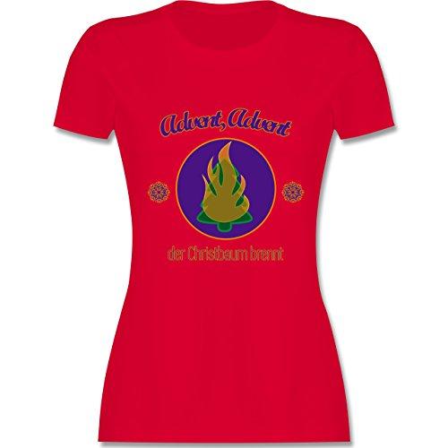 Weihnachten & Silvester - Advent, der Christbaum brennt - tailliertes Premium T-Shirt mit Rundhalsausschnitt für Damen Rot