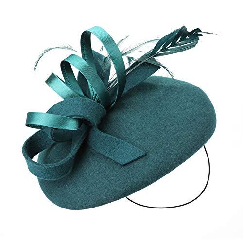 Deevoov Frauen Fascinators Hut Elastisches Kopfband Pillbox Derby Kirche Wollfilz Fedora Headwear Mädchen Federn Grün (Grüne Derby Kind Hat)