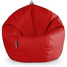 Happers Pelota Puff, Piel Sintética, Rojo, 60x60x60 cm