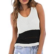 Luckycat Tejer Chaleco Corto de Mujer, Patchwork Camisetas sin Mangas sin Tirantes Atractivas de la