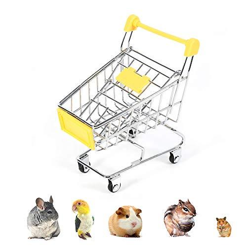Amakunft Mini Supermarkt Einkaufswagen, Einkaufswagen für Haustiere, Vögel, Papageien, Meerschweinchen, Hamster, kleine Tiere, Intelligenz, lustiges Spielzeug, Spielzeug, Schreibtisch-Zubehör, Farbe zufällig