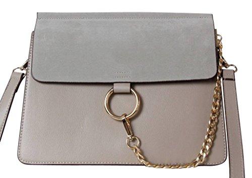 Beige Designer Damen-Handtasche by Sassyclassy | Elegante & Hochwertige Tasche aus Kunstleder |Chain-Bag mit vergoldetem Kettendetail | Angesagter 2-Tone-Look | Umhängetasche mit crossbody Träger