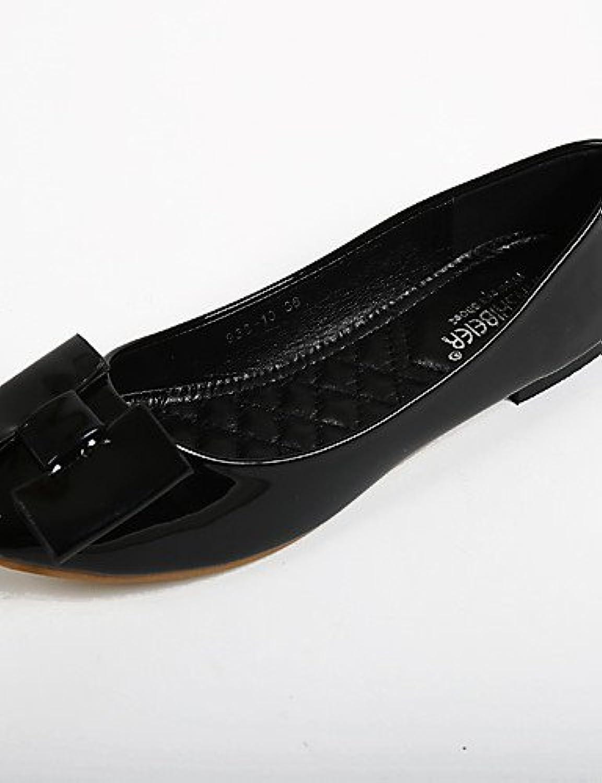 PDX/de zapatos de mujer piel sintética talón plano comodidad/punta redonda Flats Casual negro