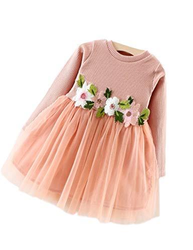 zhxinashu Mädchen Blumen Kleid Langen Ärmeln - Baby Mädchen Party Kleidung 70cm 0-10Monate ()