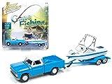 Chevrolet Silverado Pickup Truck 1965 hellblau-weiß mit Boot und Trailer