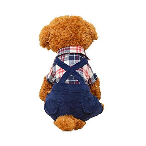 Oncpcare Hunde-Kostüm für kalte Wetter, warm, gemütlicher Jumpsuit Outfit, britischer Stil mit Latzhose