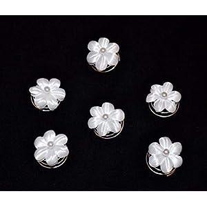 6 Curlies Haarnadeln Braut Kommunion Blüte Blume Perlen weiß, ivory