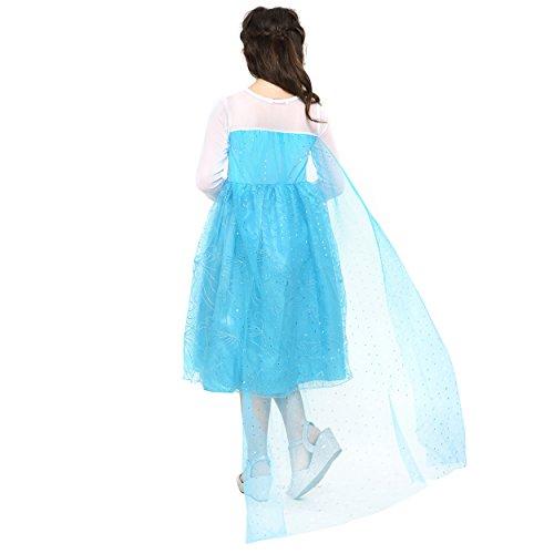 Imagen de katara  vestido de elsa reina de las nieves disfraz de frozen  traje de cosplay  azul con tran elegante para niñas de 8 9 años alternativa