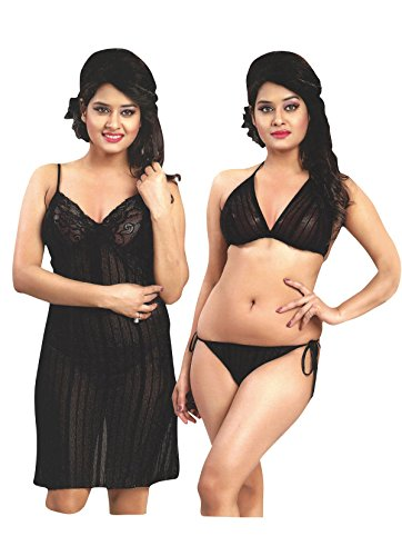 Indiatrendzs Women Nighty Net Transparent Black Babydoll Short Night Dress With Lingerie set Pack Of 3