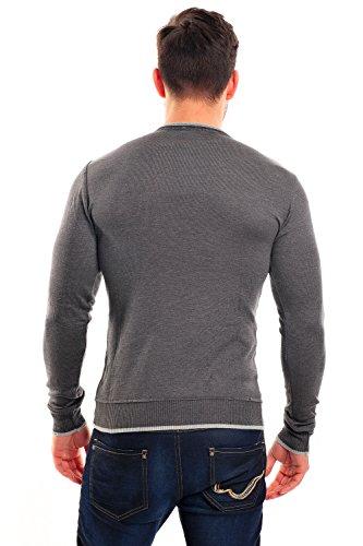 Longsleeve dünner Männer Pullover Sweatshirt Feinstrickpullover m. V-Neck von CeCe Fashion SLIMFIT Anthrazit