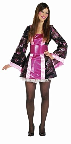 warz-pink-rosa für Damen | 46| 1-teiliges Geisha Kostüm mit Gürtel | Japanerin Faschingskostüm für Frauen | Chinesin Kostüm für Karneval (Geisha Kostüm Ideen)