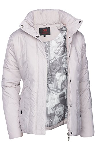 DAMEN WINTER JACKE STEPP DAUNEN OPTIK FELL KAPUZE SKIJACKE KURZ MANTEL