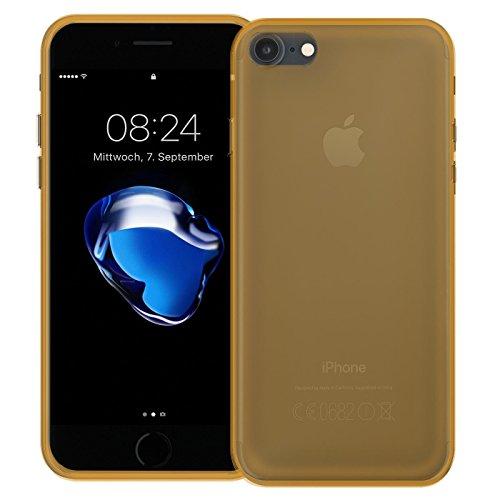 iPhone 7 Soft Silikon Case, Conie Mobile Klare Hülle, Crystal Clear Premium TPU Rückschale in Schwarz Gold