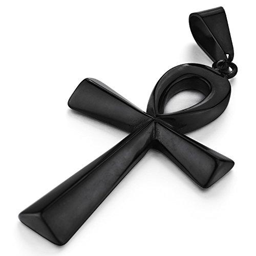 Mendino pour homme en acier inoxydable Croix de Vie égyptienne Ankh Pendentif Collier Chunky Couleur Noir poli pour femme Unisexe avec 55,9cm Chaîne à maillons