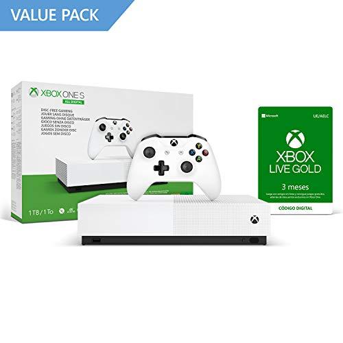 Microsoft Xbox One S All Digital - Consola de 1 TB, color blanco + 4 mes de Xbox Live Gold, 1 mando blanco, Forza Horizon 3 (juego digital), Minecraft (juego digital), Sea of Thieves (juego digital)