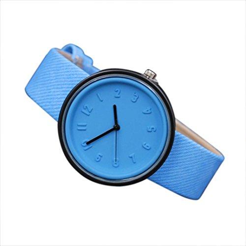Valentinstag Uhren DELLIN Unisex Simple Fashion Number Uhren Quarz Leinwand Gürtel Armbanduhr (Blau)