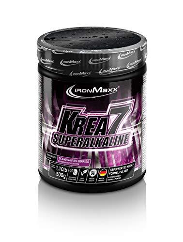 IronMaxx Krea7 Superalkaline Powder, Scandinavian Berries - 7-Komponenten Kreatin Pulver für die Leistungssteigerung - 1 x 500 g Pulver