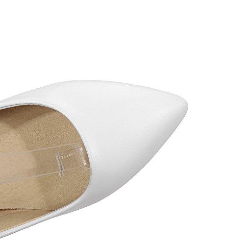 VogueZone009 Femme Pu Cuir à Talon Haut Pointu Mosaïque Boucle Chaussures Légeres Blanc